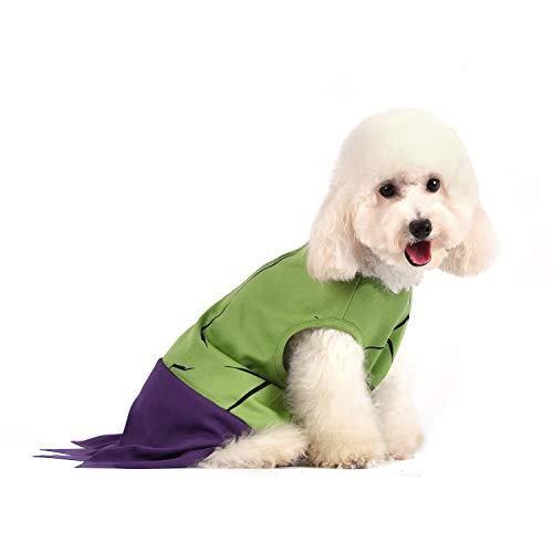 Marvel Disfraz de Hulk de Comics para Mascotas, Disfraz de Halloween para Todos los Perros Grandes, Color Verde