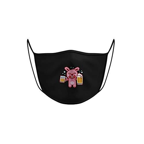 Dilara Spaßmasken aus Stoff mit Muster - Wiederverwendbare Masken für das Gesicht (Betrunkener Hase)