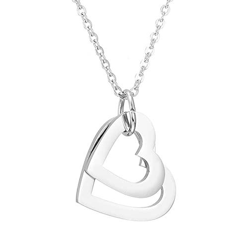 DHDHWL Collar Personalizado Nombre Personalizado Collar de Cadena de Acero Inoxidable Colgante de Corazones para Mujeres Personalizadas grabadas 2-4 Nombres Collar (Metal Color : Silver 2 Names)