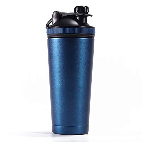 SANDIN for Gym, Climbing Mountain, Outing, Hiking 750ml Water Bottle Thermos Drinking Cup Stainless-Steel Sports Water Cup Leak-Proof Lid, BPA Free, Mixing Net, Portable Handle Protein Shaker Bottle