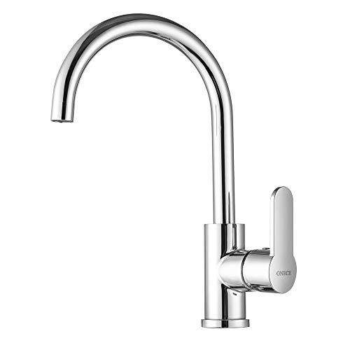 ONECE Küchenarmatur Einhebel-Spültischarmatur, Wasserhahn Küche mit 360° drehbar Auslauf, Hochdruck Armatur, Chrom