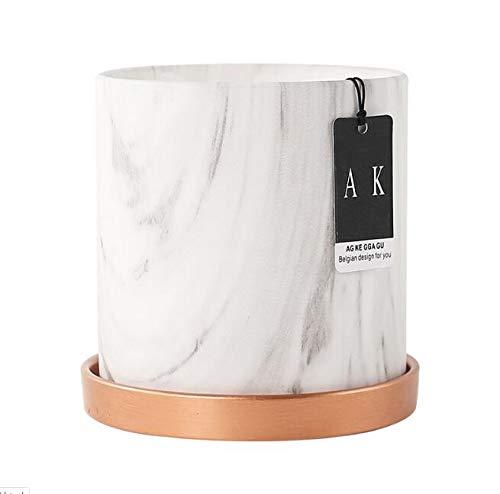 Qp-hp Marble Texture Keramik Blumentopf, rund Pot Einfacher und künstlerische Einzelner Blumentopf, mit Schale, Bonsai-Topf Grüner Blumentopf (Color : 17cm)