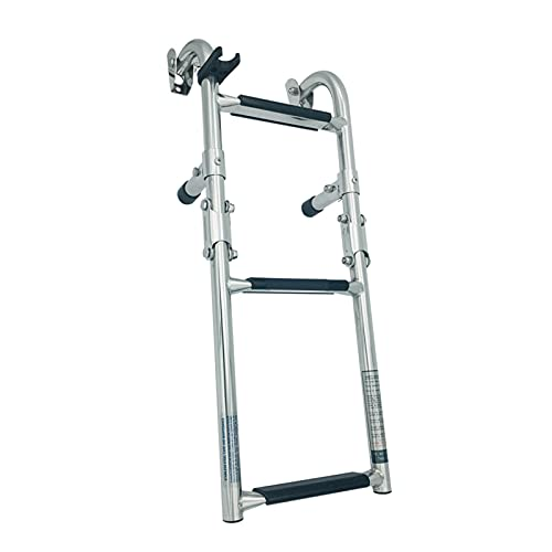 JLXJ Foldable Stern Mount Boat Ladder, 3 Steps Stainless Steel Pontoon...