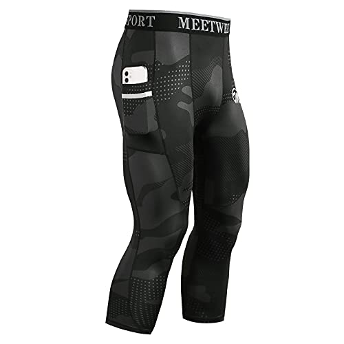 MeetHoo Compression Pants for Men, Cool Dry Athletic Leggings Capri Workout Running Tights with Pocket Gym Sport Fitness Camouflage