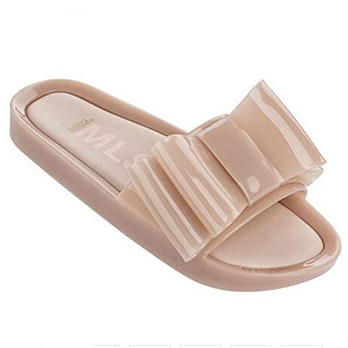 Sandalias de diapositivas para mujer, de moda, con lazo, plano, punta abierta, antideslizante, playa, tacón bajo, sandalias, Color de piel, 38.5 EU