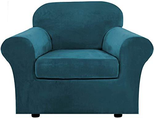 WLVG 1,2,3 Funda de sofá elástica para Sala de Estar, con 2 Fundas de cojín separadas, Funda para Muebles con Fondo elástico, Protector Antideslizante para Muebles (Verde Azulado, 1 Plaza (80-120