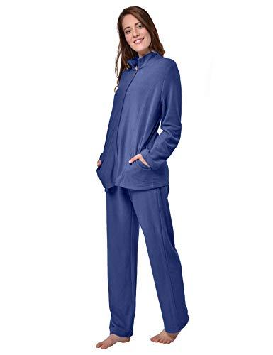 RAIKOU Damen Hausanzug Elegant Volltonfarbe Micro-Fleece Schlafanzug Freizeitanzug Hausanzug mit Reißverschluss (48/50,Navy)