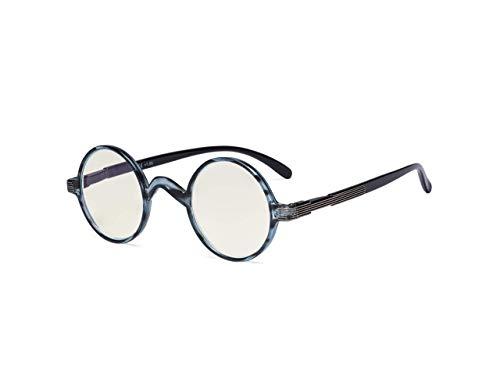 Eyekepper Round Blue Light Filter Glasses Women Men - Blocking UV Ray Anti Screen Glare Computer Readers - Blue/Tortoise +2.50