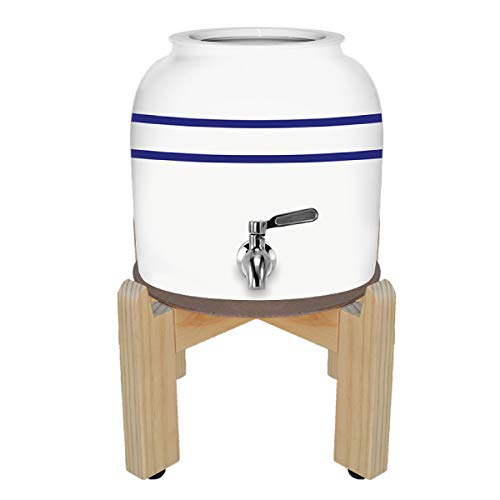Geo Sports Porcelain Ceramic Crock Water Dispenser, 8 Inch Wood Stand, Stainless Steel Faucet, Valve and Lid Included. Fits 3 to 5 Gallon Jugs. BPA & Lead Free (Blue Stripe)