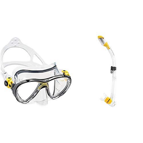 Cressi Big Eyes Evolution - Gafas de Buceo + Schnorchel Dry Snorkel, Unisex, Multicolor (Transparente/Amarillo), Talla única