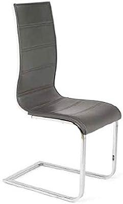 IMPT-HOME-DESIGN - Pack 4 sillas Coruña en Polipiel y Cromo, Blanco
