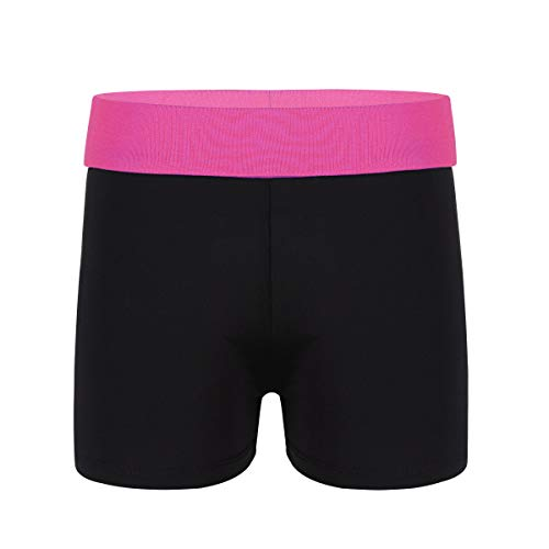 Agoky Mädchen Sport Shorts Turnhose für Kinder Kurze Hose Tights Leggings Fitness Tanzen Yoga Shorts Sporthose kurz Hot Pants Freizeit Training Rose &Schwarz 140