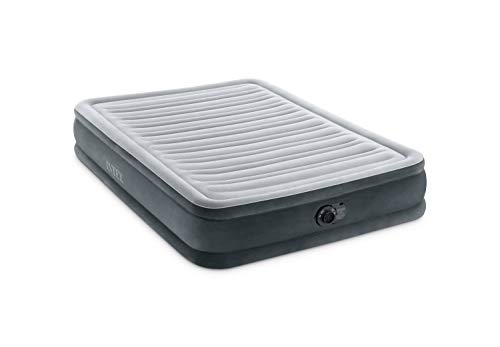 Intex Comfort Plush Mid Rise Dura-Beam Airbed with Internal Electric Pump, Bed Height 13', Gray, Full (600 lbs), Model Number: 67767ED
