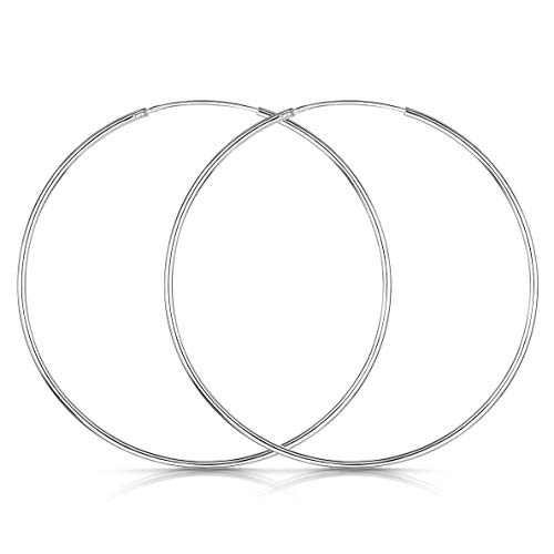 Amberta 925 Sterling Silver Fine Circle Endless Hoops - Polished Round Sleeper Earrings Diameter Size: 20 30 40 60 80 mm (60mm)