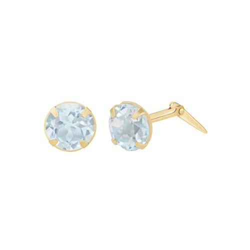 9ct yellow gold 3mm sky blue topaz gemstone earrings gift box included