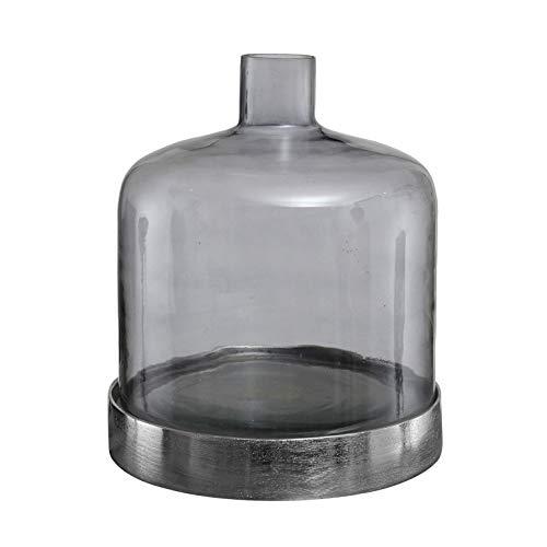 PTMD decoratieve vaas jake van glas grijs met aluminium onderzetter - Afmetingen: 19,0 x 19,0 x 23,0 cm