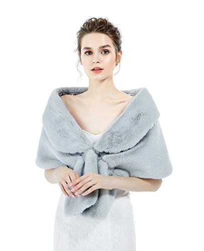 BEAUTELICATE Kunstpelz Schal Stola Damen Umhang Braut Cape Für Abendkleid Brautkleid Fasching Winter Hochzeit Halloween Weihnachten