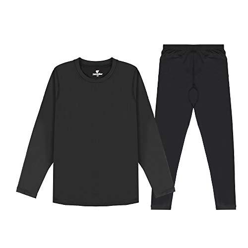 HEROBIKER Thermal Underwear Boys Ultra Soft Fleece Lined Kids Thermals Long Johns Top Bottom Warm Set for Winter Skiing Black