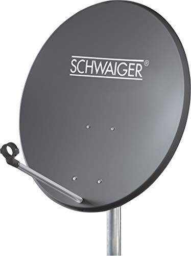 SCHWAIGER -715828- Satellitenschüssel   SAT Antenne mit LNB-Tragarm und Masthalterung   Sat-Schüssel aus Aluminium   Offset Antenne   55 x 62 cm   anthrazit