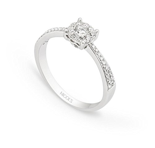 NICOLS 17410800211 - Anillo NICOL´S. Sortija Wedding Band rosetón central 6mm enoro blanco y diamante talla brillante con peso total 0.48ct.