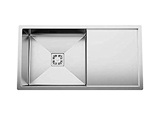 ASTER PM-SB-SQ-3618-Drain Board Kitchen Sink, Silver, Matt Finish