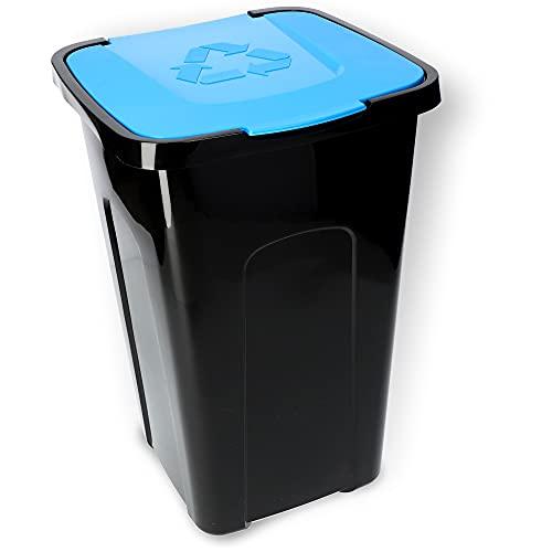 KADAX Voluminöser Eimer, 50L, rechteckiger Mülleimer aus Kunststoff-Polyurethan, Abfalleimer für Trennen von Glas, Plastik, Bioresten (Blau)