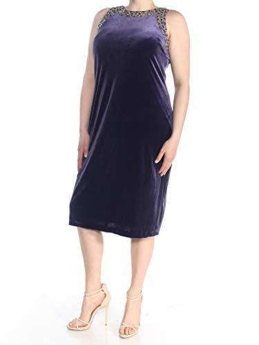S.L. Fashions Damen Samtkleid mit Perlenbesatz - Violett - 46