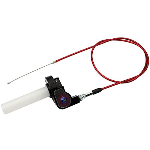 Cavo dell'acceleratore con cavo, maniglie del manubrio da 7/8 pollici Kit di cavi dell'acceleratore a rotazione rapida Twister e cavo dell'acceleratore per 50-250cc ATV Quad Pit Dirt Bike (Red)