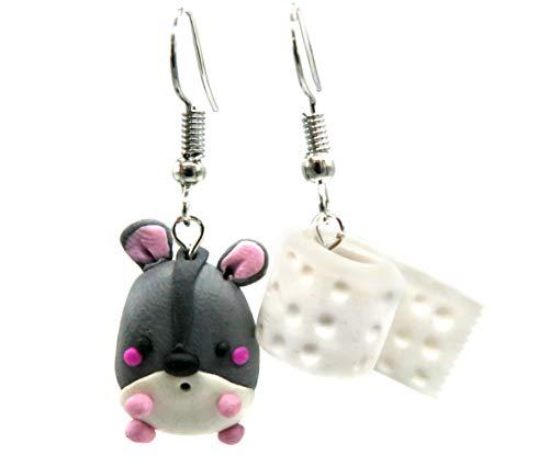 Ohrringe Toilettenpapier und Hamster Ohrhänger Klopapier handmade