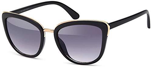 styleBREAKER gafas de sol con forma de ojos de gato, forma de mariposa con montura de metal y plástico, ojos de gato, señora 09020078, color:Dorado-negro montura/Gris vidrio corrido