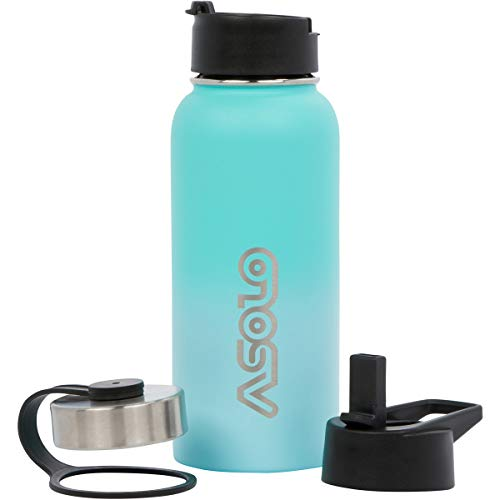 Asolo Insulated Water Bottle – Thermos Water Bottle – Double Wall Vacuum Insulated Stainless Steel Water Daily Water Intake Bottle – Water Flask with Straw (Sky, 64 Oz)