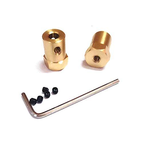 Without brand 10pcs 3mm 4mm 5mm 6mm 7mm 8mm Wellenmotor Flexible Kupplung, Reifen, Rad Messing Hex-Koppler Set & Schraubenschlüssel (Größe : 5mm)