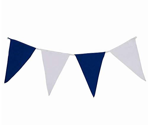 Wimpelkette aus Stoff - 10 Meter 40 Wimpel, wetterfeste Wimpelgirlande für Partys oder als Garten-Deko, Beste Verarbeitung mit strapazierfähigster Nylonschnur (Blau-Weiß)