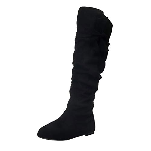 Long Boots Low Heel Shoes Women's Fashion Beautiful Knotted Knee-high Boots