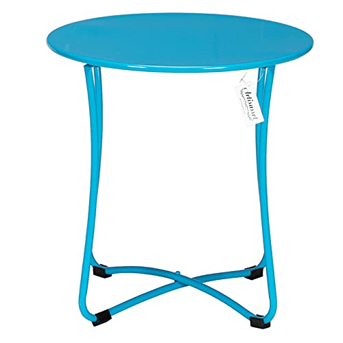 "Bysesion GT1-JL 18"" Metal Countertop Small Round Table Terrace Wrought Iron Side Table Blue"