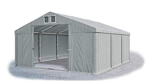 Das Company Lagerzelt 5x6m wasserdicht mit Bodenrahmen grau Zelt 560g/m² PVC Plane hochwertig Zelthalle Summer Floor SD