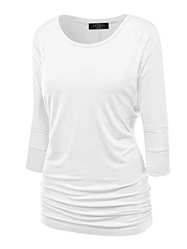 Made By Johnny MBJ WT822 Womens 3/4 Sleeve with Drape Top M White