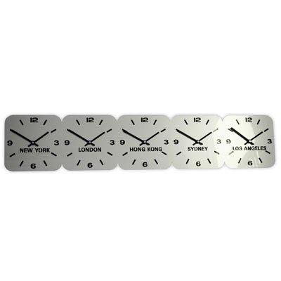 Horloge Acrylique Fuseaux Horaires Argent de Roco (H15cm x L75cm 5 Fuseaux Horizontal)