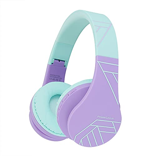 Bluetooth Headphones for Kids, PowerLocus Wireless Foldable Headphones Over Ear, Headphone with Microphone, 85DB Volume Limit, Wireless and Wired Headset with Micro SD, FM for Cellphones, Tablets, PC