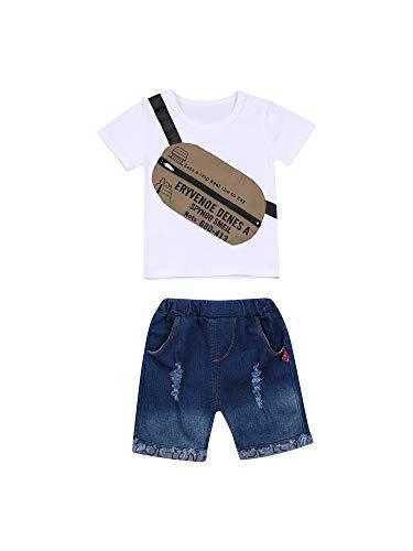 2 Piezas Traje Deportivo Verano de Bebé Niño Chándal Conjunto de Camiseta de Manga Corta con Cuello Redondo y Patrón de Bolsillo + Vaqueros Cortos para Chicos Pequeños