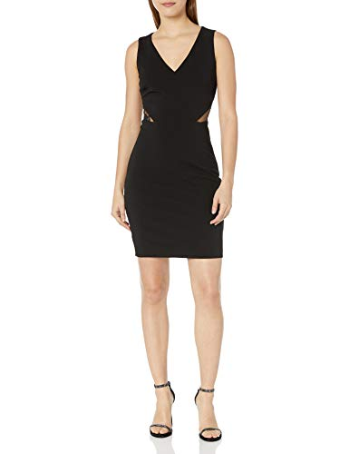 GUESS Women's Scuba Crepe Embroidered Sequin Dress, Black, 10
