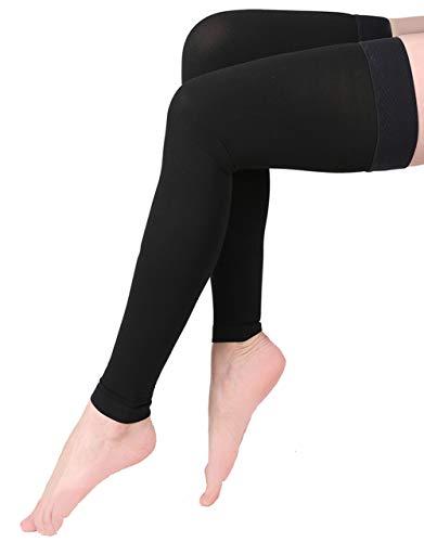 Medias de compresión sin pies, KEKING Opaque muslo mangas de alta compresión. Firm Support 20-30 mmHg Gradiente de compresión con banda de silicona, tratamiento de hinchazón, venas varicosas, edema, negro XXL