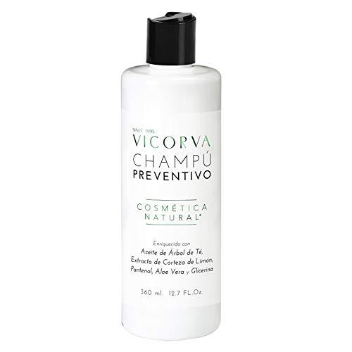VICORVA CHAMPÚ PREVENTIVO   Árbol de Té, Extracto de Corteza de Limón y Pantenol   Protección y suavidad para tu cabello   360ml