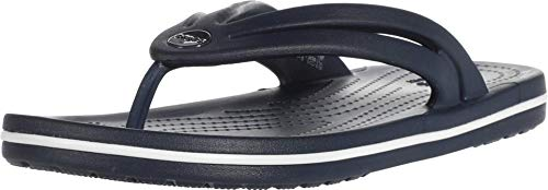 Crocs Women's Crocband Flip Flop | Slip On Water Shoes | Casual Summer Sandal, Navy, 9 M US