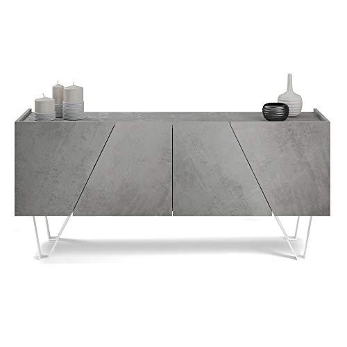 Mobili Fiver, Aparador con 4 Puertas Emma, Cemento Gris, con Patas Blancas, Aglomerado y Melamina/Hierro, Made in Italy