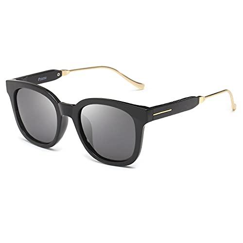 Moda Señora Metallic Polar Gafas De Sol Drive Hombre, Copos grises con marco negro,