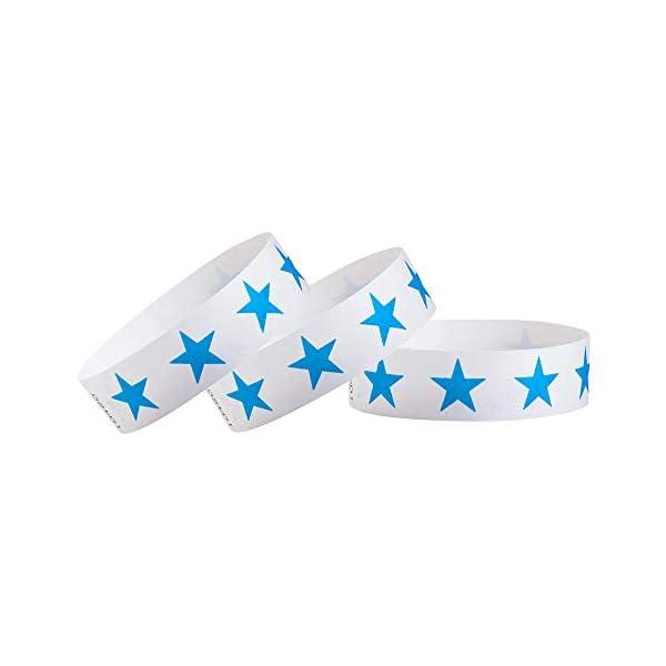 WristCo Blue Stars 3/4 inch Tyvek Wristbands