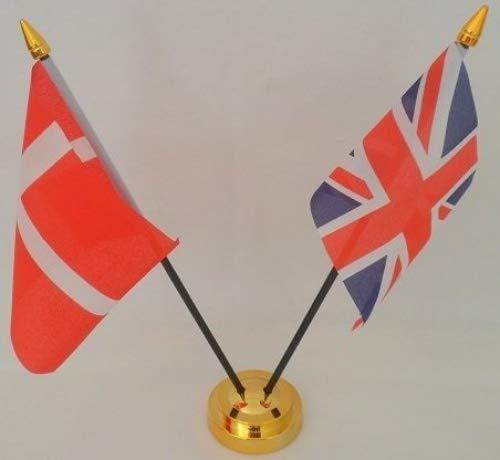 Dänemark Dänische Flagge von der Flagge des Vereinigten Königreichs 2Kugeln mit Display aus Glas Tisch Gold Base