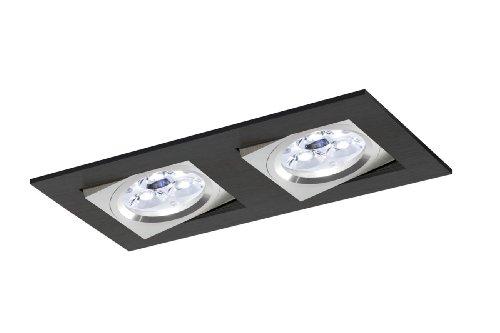 Foco empotrable doble rectangular en aluminio, colección Kare de Bpm Lighting...