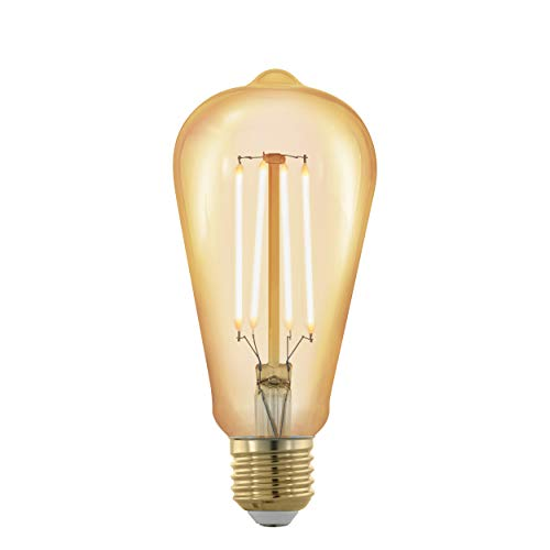 EGLO LED E27 dimmbar, Golden Vintage Glühbirne, LED Lampe, Retro Beleuchtung, 4 Watt (entspricht 30 Watt), 320 Lumen, E27 LED warmweiß, 1700 Kelvin, LED Leuchtmittel, Edison Glühbirne ST64, Ø 6,4 cm
